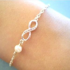Simple, Cute, Infinity Pearl, Gold ..