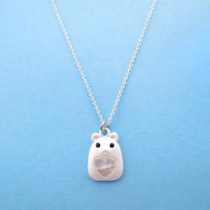 Lovely Teddy, Animal Necklace, Silv..