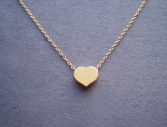 Cute Simple, Gold Vermeil Heart Pendant, Gold Filled Chain, Necklace
