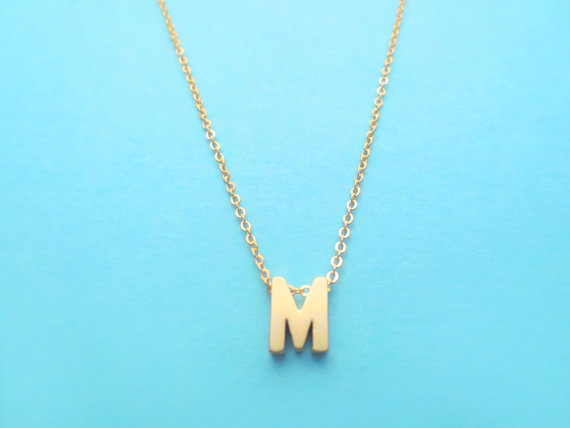 Intial Gold Plated Necklace, Alphabet, Capital Letter, Necklace, Simple Modern, Personalized Jewelry
