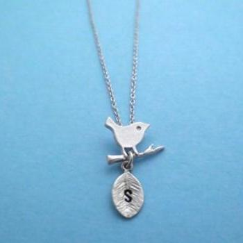 Cute, Bird on a Branch, Initial, Personalized, Necklace