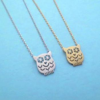 Cute, Night Owl, Gold or Silver, Necklace