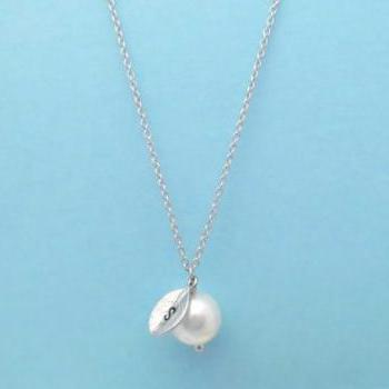 White Pearl, Initial Leaf, Personalized, Necklace