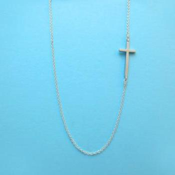 Simple, Cross, Sideway, Sterling Silver Chain, Necklace