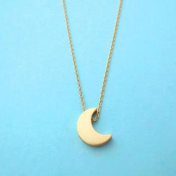 crescent moon necklace, gold moon necklace, simple necklace, modern, cute, gold necklace