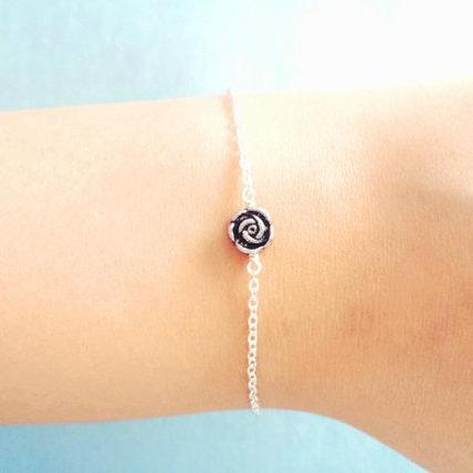 Belle, Rose, Beauty, And, The, Beast, Vintage, Style, Petit, Rose, Bracelet